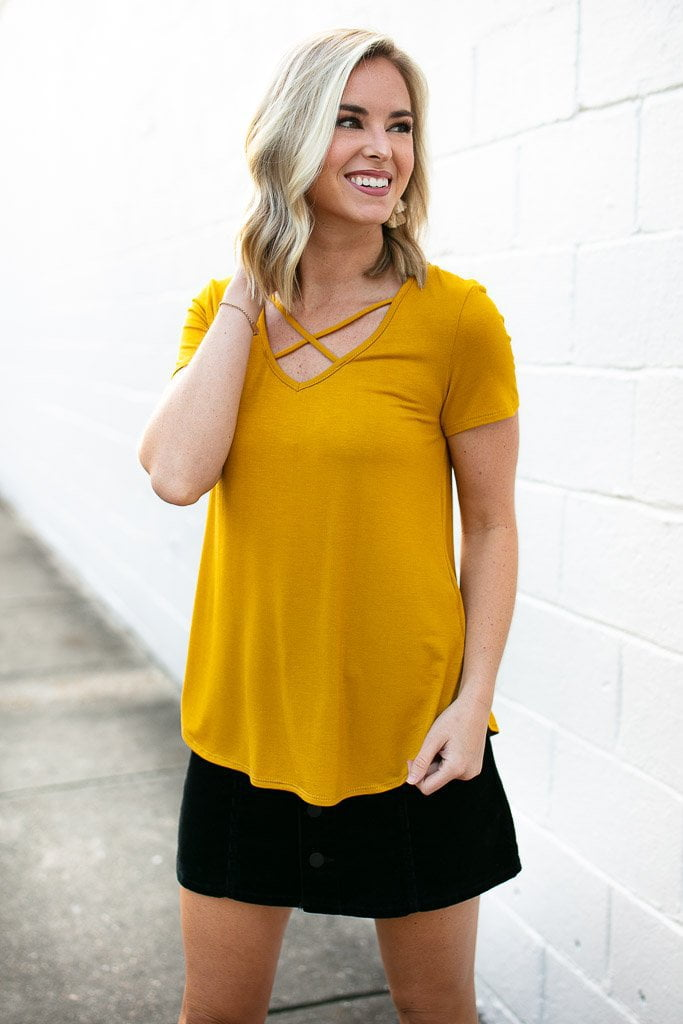 Criss Cross Mustard Top