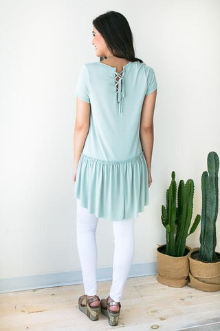 So Tied Up Sage Babydoll Tunic