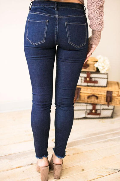 Bottoms Wild About Frayed Hem Skinny Jeans - Lotus Boutique