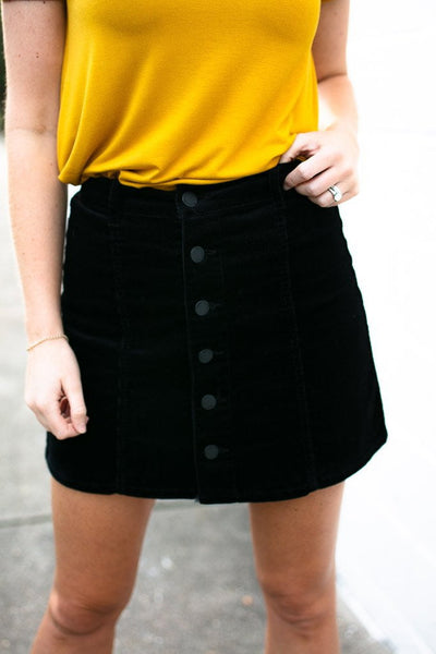 Bottoms Soul Searching Button Corduroy Skirt in Black - Lotus Boutique