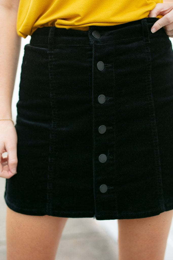 Black Corduroy Button Detail Skirt