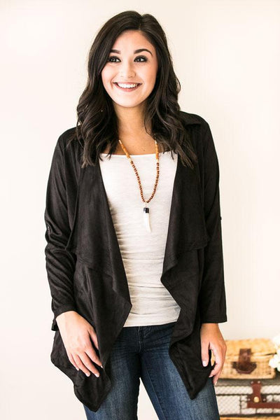 Marci Suede Flowy Cardigan- Black-Tops-Lotus Boutique-Lotus Boutique