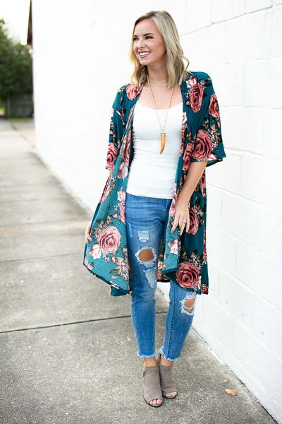 Tops Floral Medley Teal and Rose Long Kimono - Lotus Boutique