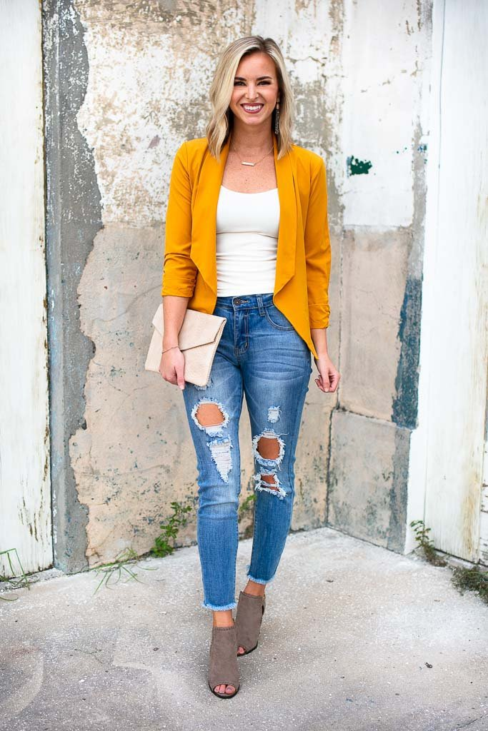 Tops Keep Looking Up Mustard Blazer - Lotus Boutique