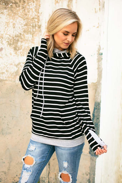 Black Stripe Double Layer Hoodie