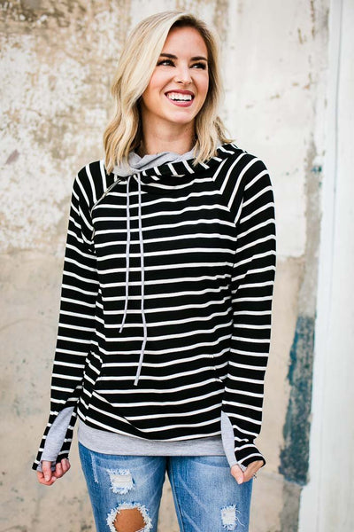 Stripe Double Layer Hoodie