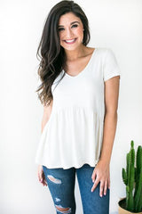 Natural Oat Babydoll Top