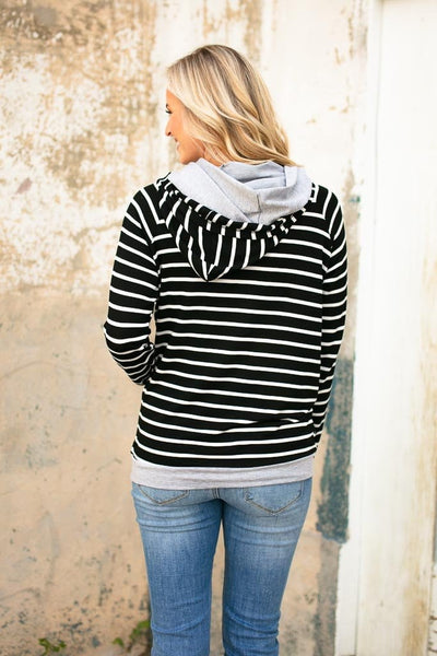 Tops No Stopping Stripe Double Hoodie - Lotus Boutique