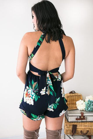 Ophelia Open Back Floral Navy Romper