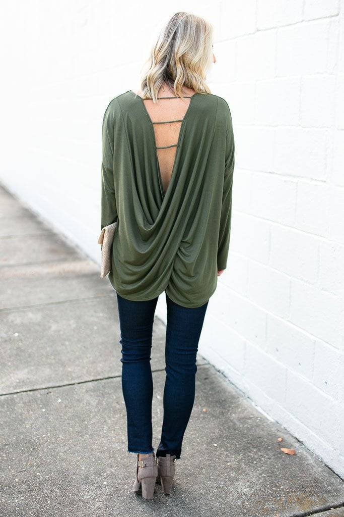 Tops On the Right Track Open Back Top in Olive - Lotus Boutique