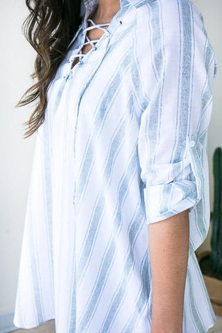 Clean Sage Stripe Linen Tunic