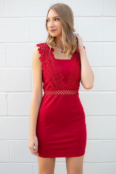 Dresses After Thoughts Lace Detail Red Bodycon Dress - Lotus Boutique