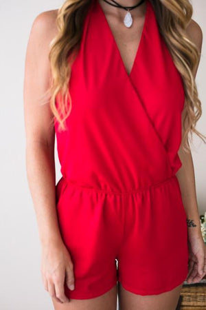Admired By All Open Back Romper in Red-Rompers-Lotus Boutique-Lotus Boutique