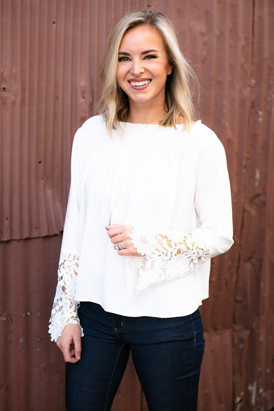 Tops Back to My Roots Floral Lace OTS Top  - Lotus Boutique