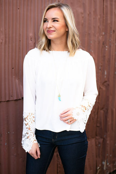 Off Shoulder Lace Sleeve Top