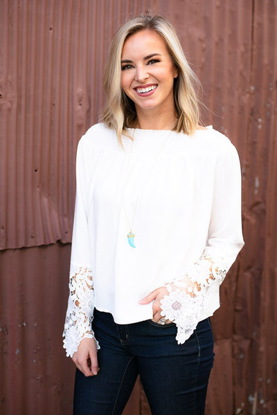 White Lace Detail Off Shoulder Top
