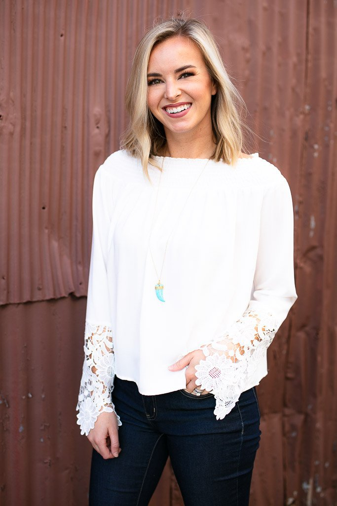 White Lace Off Shoulder Top