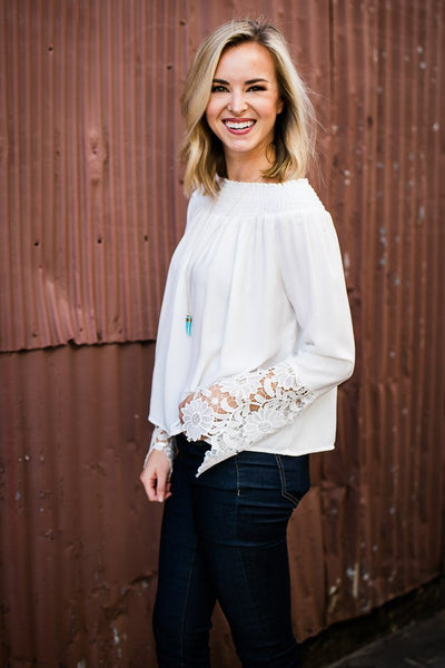 Lace Sleeve Detail White Top