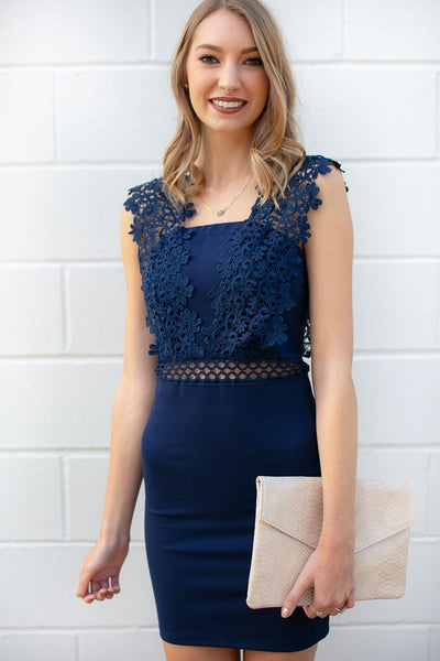 Dresses Fierce Love Navy Lace Detail Bodycon Dress - Lotus Boutique