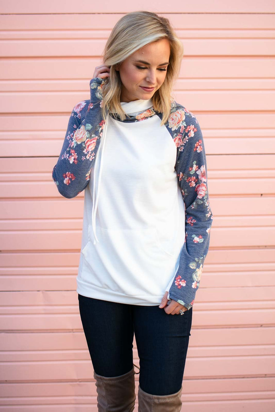 Floral Sleeve Double Hood Pullover