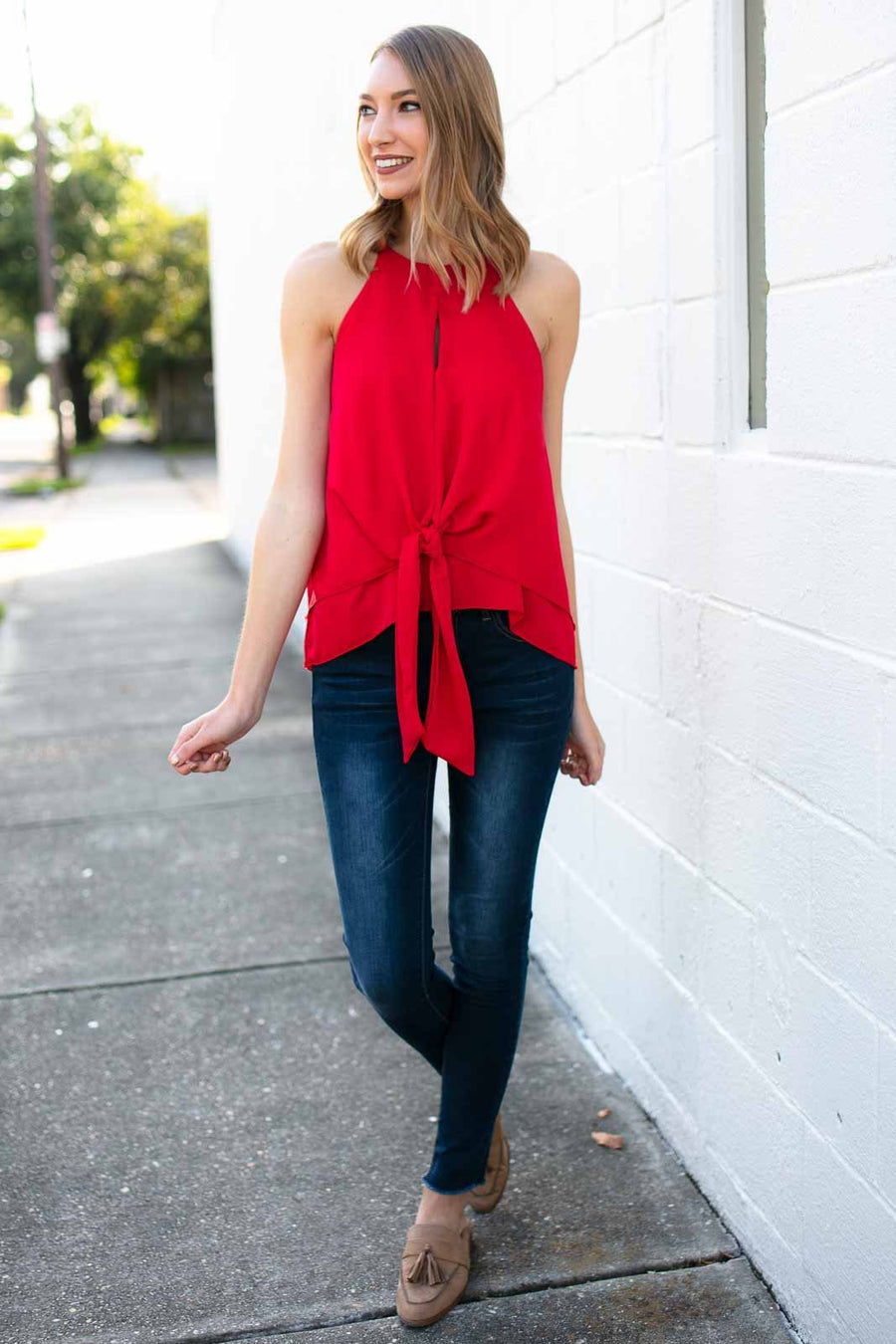 Tops Explore Tonight Tie Front Keyhole Tank in Red - Lotus Boutique