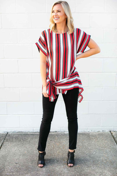 Stripe Asymmetric Tie Top