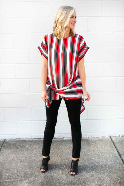 Stripe Tie Front Asymmetric Top