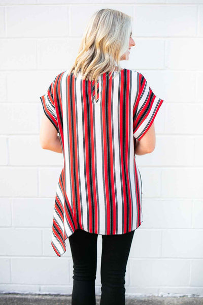 Stripe Asymmetric Hem Tie Front Top