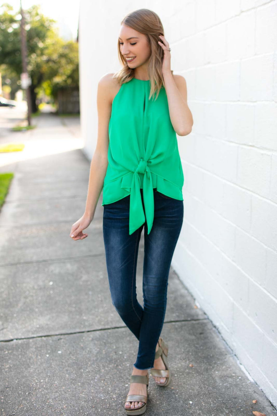 Tops Explore Tonight Tie Front Layered Tank in Emerald - Lotus Boutique
