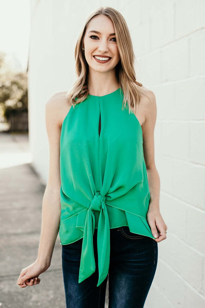 Tie Front Emerald Keyhole Tank