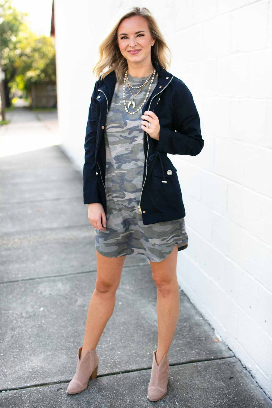 Tops Be the Light Navy Utility Jacket with Hood - Lotus Boutique