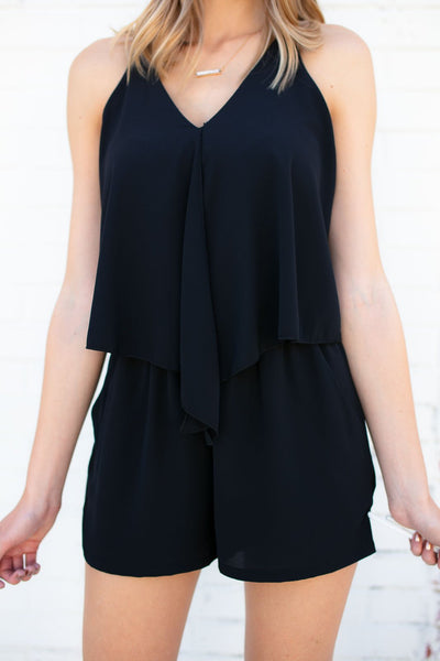 Layered Open Back Romper