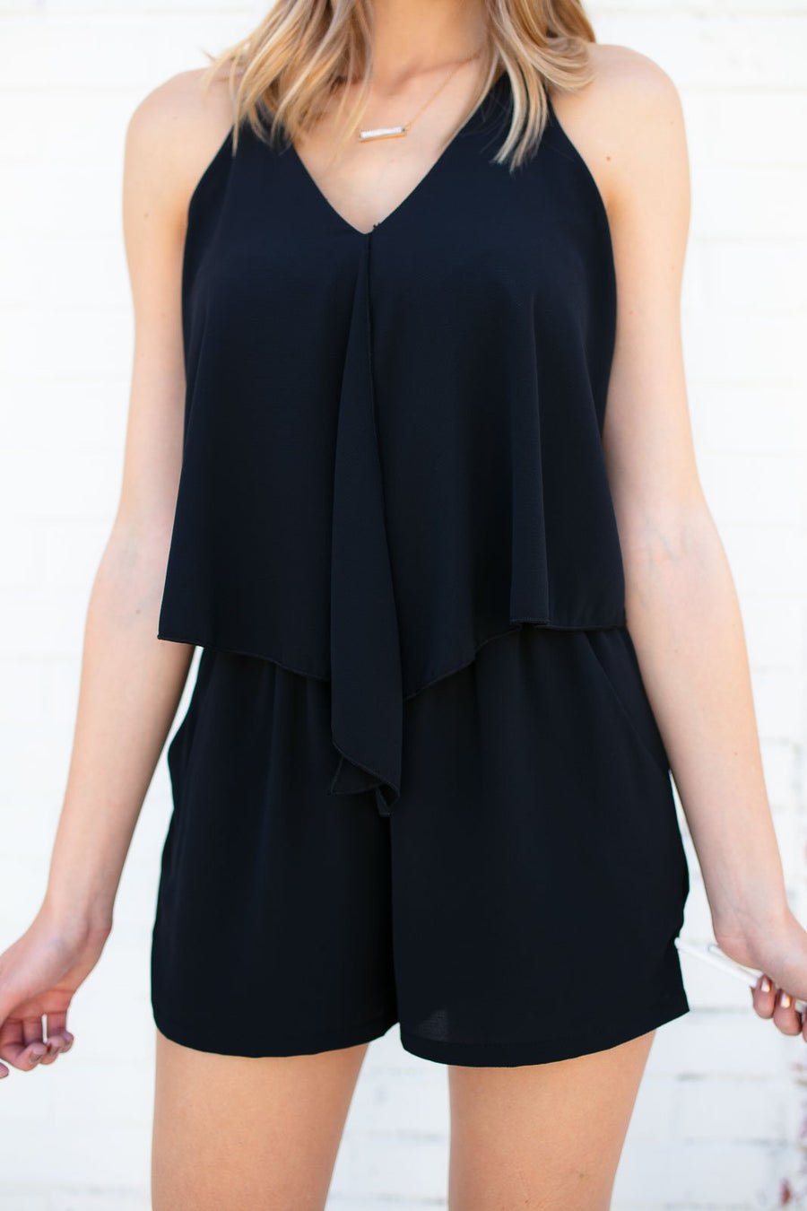 Rompers Free Flowing Layers Open Back Romper in Black - Lotus Boutique