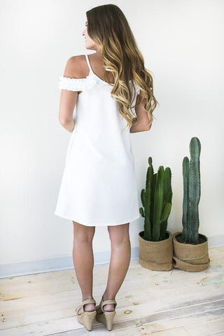 White Cold Shoulder Dress with Pockets