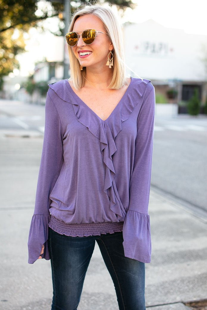 Tops Sing it Out Soft V Neck Top in Purple - Lotus Boutique