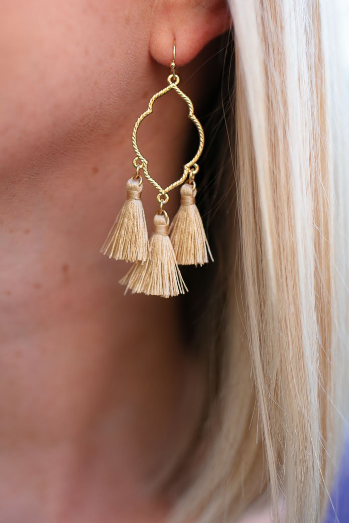 Accessories Evening Out Gold Tassel Earrings in Tan - Lotus Boutique