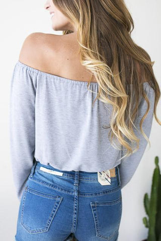 Forever Grey Off Shoulder Crop Top
