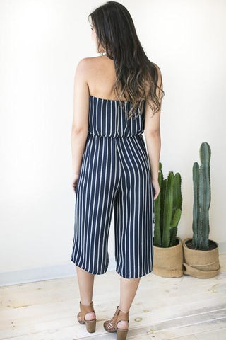 Take You There Crop Jumpsuit - Navy