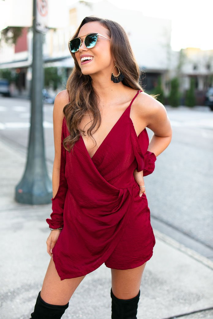 Wine Cold Shoulder Romper