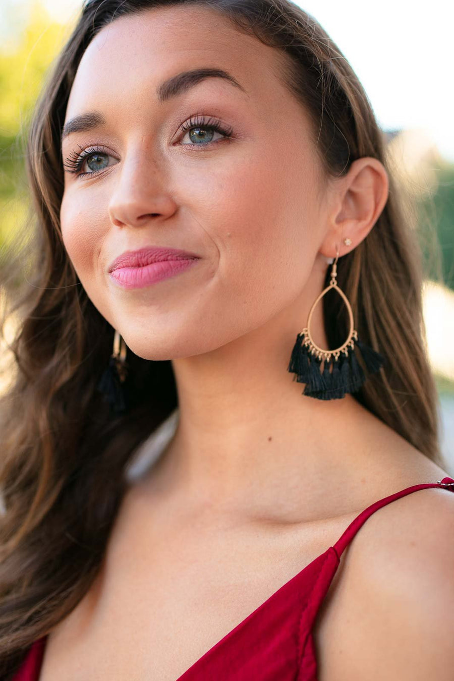 I'm Telling You Hoop Tassel Earrings in Black