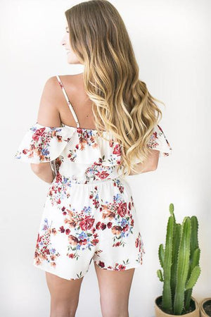 Nice Time Off Shoulder Floral Romper-Rompers-Lotus Boutique-Lotus Boutique
