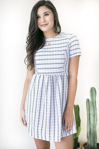Diamonds Galore Grey Fit and Flare Dress