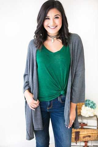 The Perfect Grey Waffle Knit Cardigan