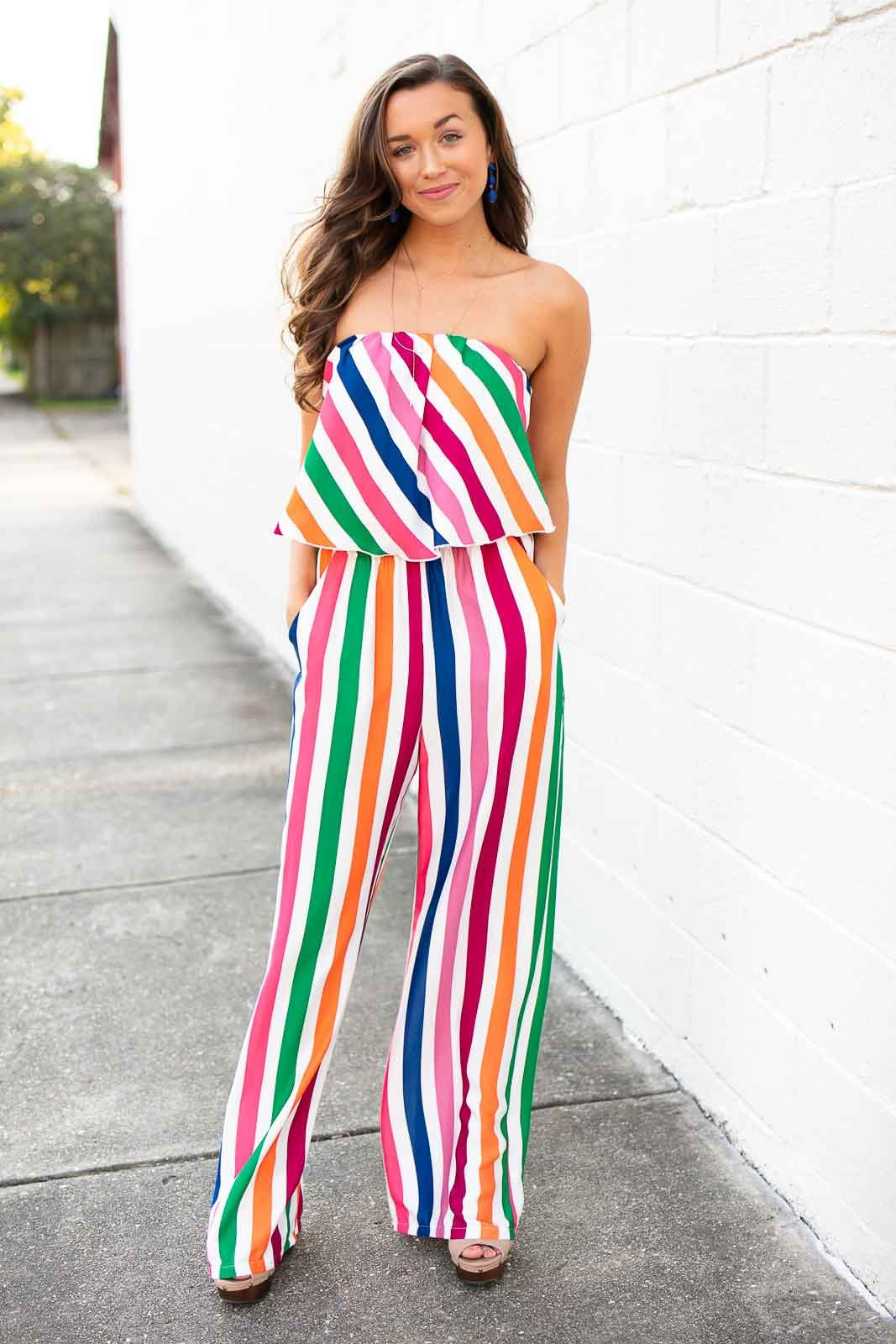 71538c13f035 Jumpsuits Haute Hues Rainbow Stripe Jumpsuit - Lotus Boutique