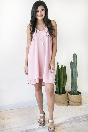Any Party Layered Hem Dress - Pink-Dresses-Lotus Boutique-Lotus Boutique