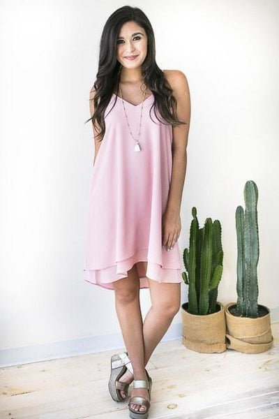 Dresses Any Party Layered Hem Dress - Pink - Lotus Boutique