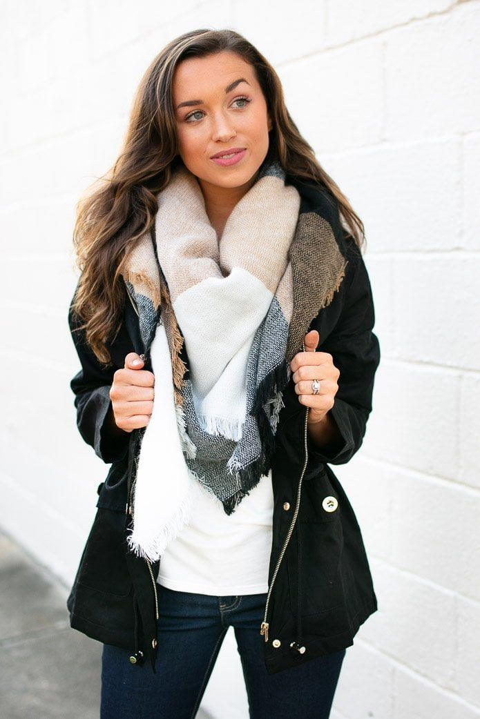Accessories The Ultimate Cozy Plaid Blanket Scarf in Black and Tan - Lotus Boutique