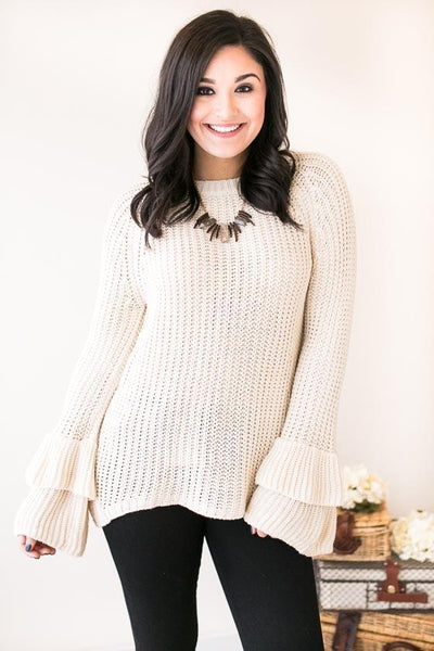 Tops School's Out Bell Sleeve Sweater- Beige - Lotus Boutique