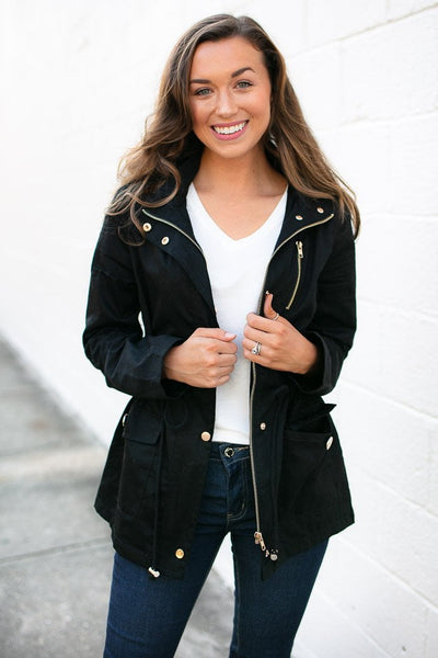 Tops Be the Light Black Utility Jacket with Hood - Lotus Boutique