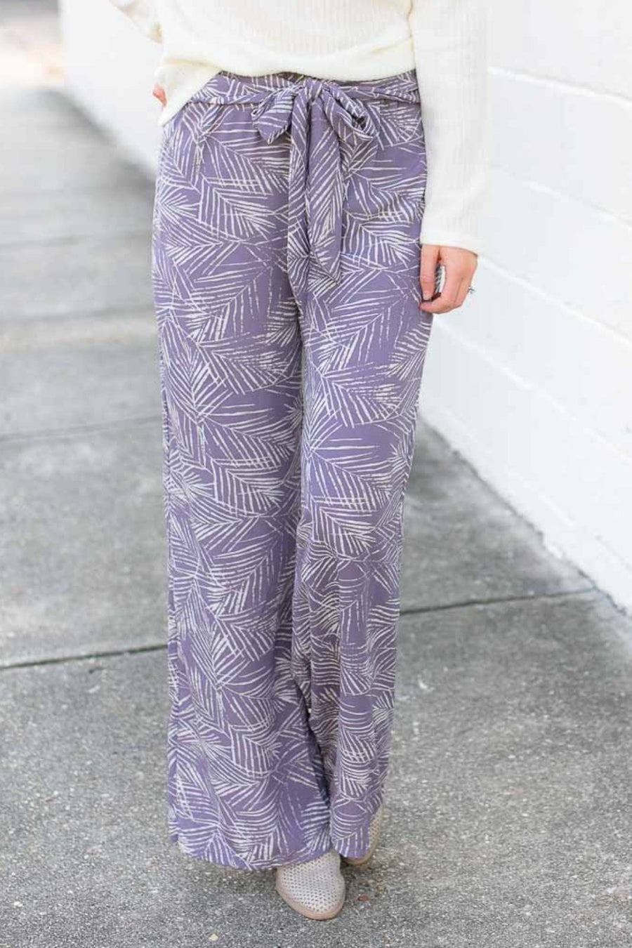 Dove Palm Print Pants